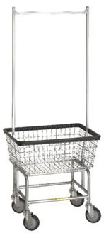 100E58 - R&B Wire Standard Laundry Cart w/ Double Pole Rack*